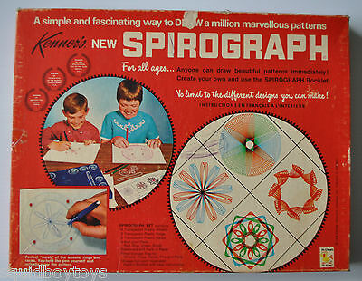 vintage SPIROGRAPH Playset #401 vintage TOY 1969 Red Tray (20 pieces)