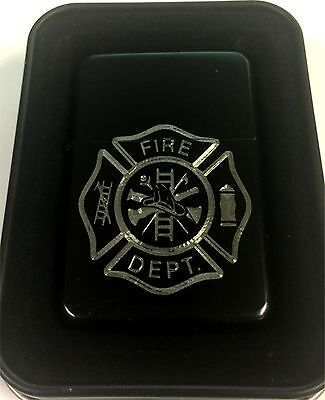Fire Department Fighter Fireman Black Gift Engraved Lighter Gift LEN-0176