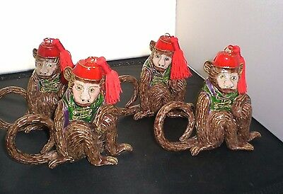 Set of 4 Monkey Napkin Rings - Figural Cloisonne Style - From Horchows