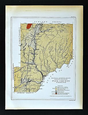 1901 Minnesota Geological Map - Pine County - Geology Hinckley Kettle River MN
