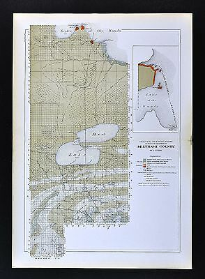 1901 Minnesota Geological Map - Beltrami County Geology Red Lake of the Woods MN
