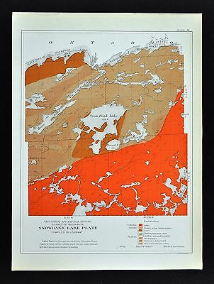 1901 Minnesota Geological Map - Snow Bank Lake - Moose Basswood Lake Geology MN