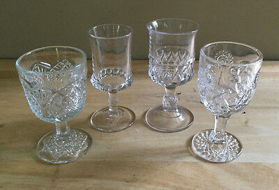 Aperitif Cordial Clear Glasses Lot of 4 Different Patterns