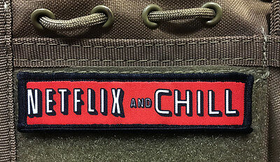 1x4 Netflix and Chill Morale Patch Tactical Military Army Badge Hook Flag
