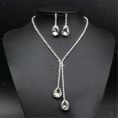 Silver Plated Bridal Rhinestone Crystal Drop Necklace Earring Jewelry Set