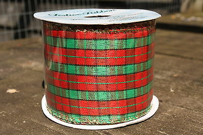 GREEN & RED TARTAN GOLD EDGED WIRED CHRISTMAS RIBBON 63mm x 10 yards
