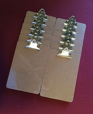 12 x Wooden A5 Clipboard Hardboard With Chrome Clip Small Menu Board 250x170mm