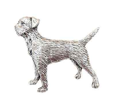 Border Terrier Handcrafted in Solid Pewter In UK Lapel Pin Badge