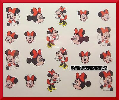 STICKERS ONGLES WATER DECAL (x20) - Nail art - Minnie - Multicolore