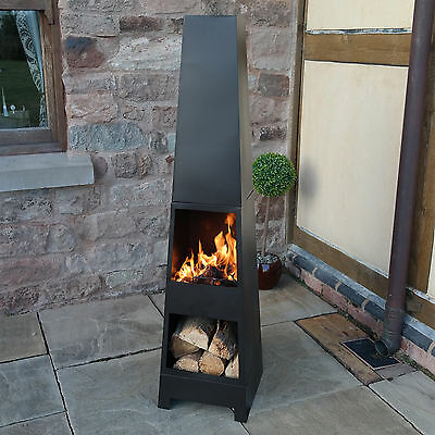 Chimenea Outdoor Garden Pyramid Chimnea Patio Heater Wood Burner Chiminea Steel