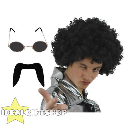 70's Man Set Black Afro Wig Moustache Black Glasses Disco Fancy Dress 1970's