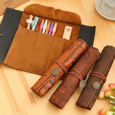 Leather Pen Pencil Roll Case Makeup Cosmetic Brush Organizer Pouch Bag Vintage