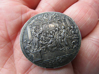 RARE -  WILLIAM  III  Silver Medal 1689 CORONATION FESTIVITIES AT ROTTERDAM