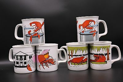 Louisiana Crawfish Boil Cup Mug New Orleans VTG Holmes-Style Set June Sobol NOS
