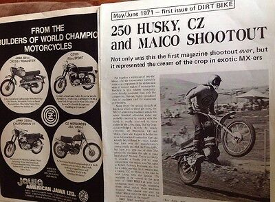 5 Pages Race Test Report On 1971 CZ250 Husky250 Maico250 & CZ Ad