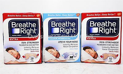 62cnt Breathe Right Nasal Strips 1x26cnt Clear Sensitive 36cnt Extra Tan