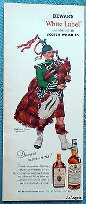 1957 Dewars White Label Whisky Tratitional Tartan Of Clan Bruce Bagpiper ad