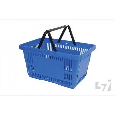 28L Large Heavy Duty Shopping Basket Blue Plastic - supermarket shop store