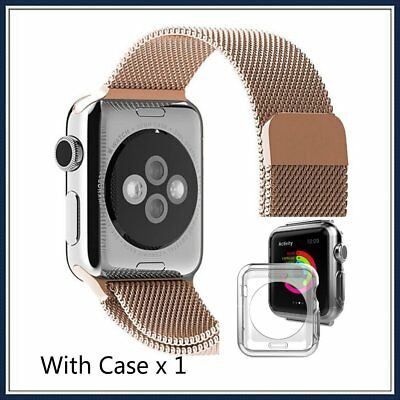 RoseGold Stainless Steel iWatch Mesh Metal Strap+Adapter For Apple Watch 42mm