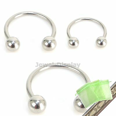 8~15mm Silver Color BALL Horseshoe Ring Round Ear Piercing Body Jewelry JB119