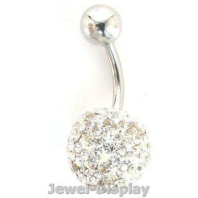 Clear Rhinestone Navel Belly Button Barbell Ring Body Piercing Accessory #136