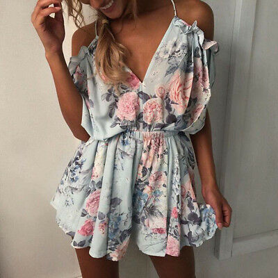 Women Summer Long Sleeve Bodycon Hollow Out Clubwear Party Short Jumpsuit Romper
