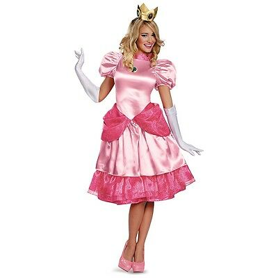 Adult Princess Peach Costume Deluxe Mario Brothers Halloween Fancy Dress