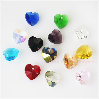 10 New Charms Mixed Faceted Heart Glass Crystal Rondelle Pendants 10mm