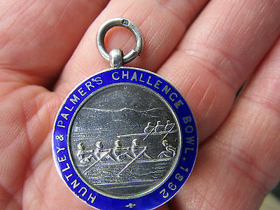 Silver & enamel rowing medal 1928  HUNTLEY & PALMERS CHALLENGE BOWL  1892