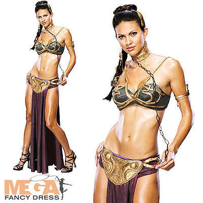 Sexy Princess Leia Slave Ladies Fancy Dress Star Wars Adults Womens Film Costume