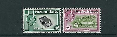 PITCAIRN ISLANDS 1940-51 KGVI 2 key values 4d and 8d (Scott 5a and 6a) VF MH