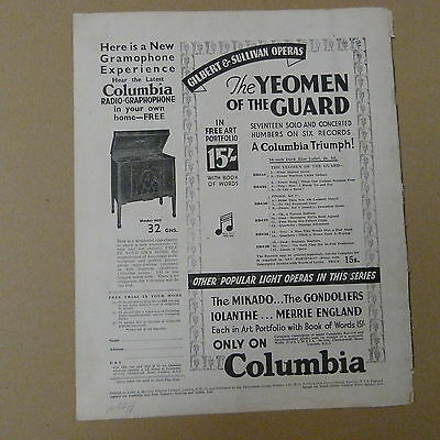 vintage advertise THE ALL ELECTRIC COLUMBIA RADIO GRAPHOPHONE Model 602, 1930s