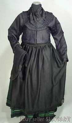 VINTAGE German Folk Costume Marburg black mourning outfit ethnic dress wool L-XL