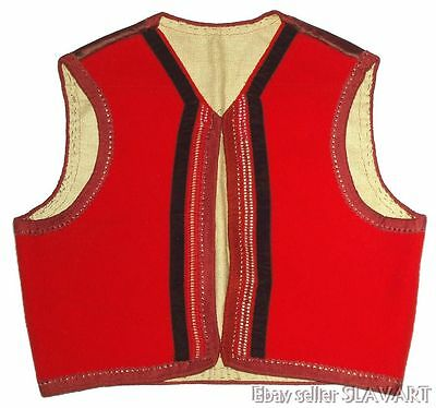 ANTIQUE authentic Dutch folk costume vest red wool embroidered initials handmade