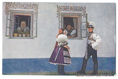 POSTCARD antique color photo Czech folk costume ethnic type Kyjov painted house