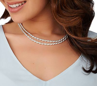 """18"""" Double Layer Rope Chain Necklace Real Sterling Silver 925 QVC Senora Clasp"""