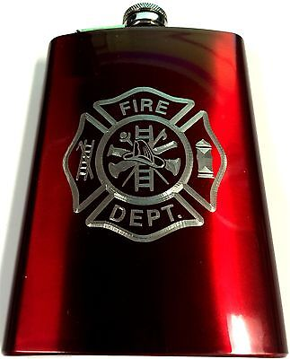 Fire Fighter Fireman Department 8oz Stainless Steel RED Flask FEN-0042