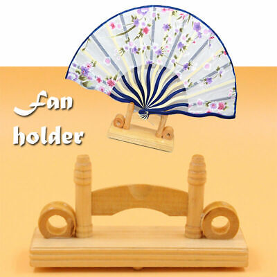 Chinese Japanese Foldable Fan Display Holder Base Stand Knot Art Rack Decor