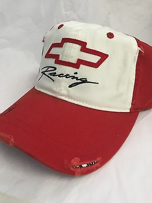 Chevrolet Racing hat  Red Color Distressed Adjustable Sample New