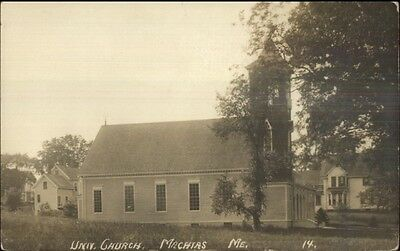 Machias ME Univ Church c1910 Real Photo Postcard