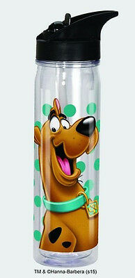 Scooby-Doo Smiling Image Plastic Flip Top Water Bottle NEW UNUSED #18711