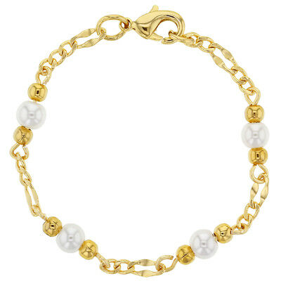 """18k Gold Plated White Simulated Pearl Baby Newborn Bracelet 4.5"""""""