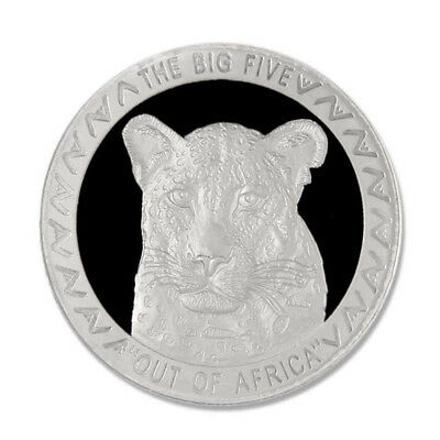 Uganda The Big Five Leopard 2002 5000 Shillings Proof Silver Crown