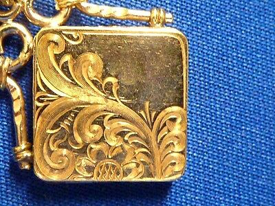 antique Gold Filled antique pocket watch chain w photo locket fob and chain
