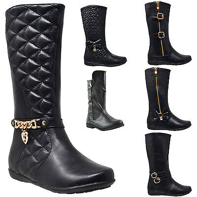 Kids Boots Girls Toddler Youth Mid Calf Booties Low Heel /w Zipper Closure Black
