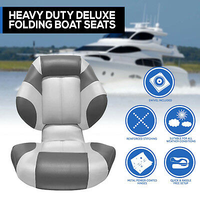 New 2016 Boat Seat Deluxe  Boat Folding  with Swivel All Weather Grey Charcoal