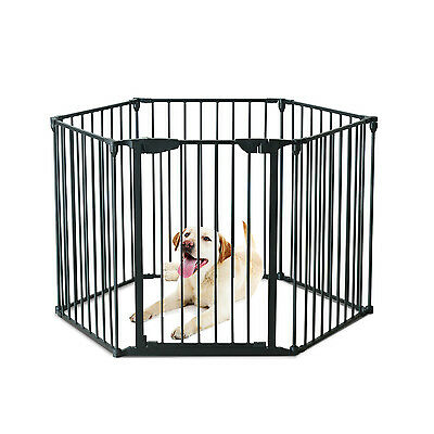 Pet Playpen Dog Puppy Cage Pen Play Fence Enclosure Steel 6 panels Safety Gate