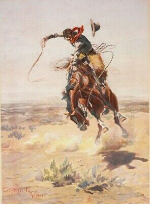 COWBOY ON A BUCKING BRONCO POSTER 1905 Vintage 3 Sizes