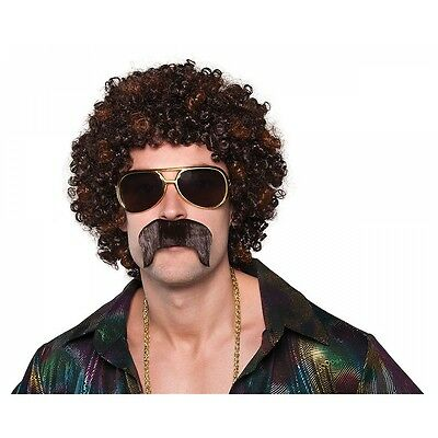 70s Costume Wig & Moustache Adult Mens Funny Disco Afro Halloween Fancy Dress