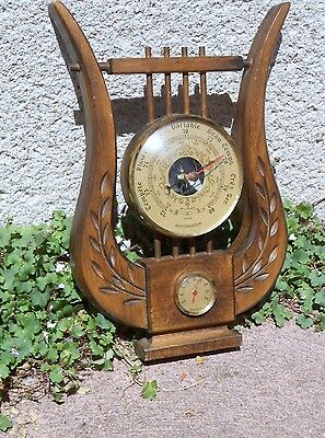 Vintage french Wood  BAROMETER & Thermometer LYRE